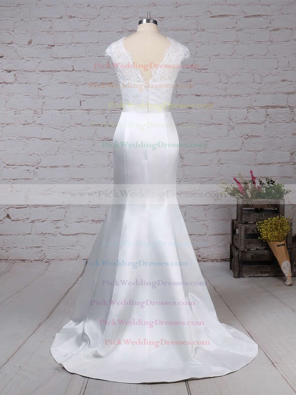 Lace Satin Scoop Neck Sweep Train Trumpet/Mermaid Beading Wedding Dresses #PWD00023227