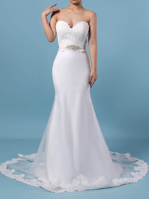 Lace Organza V-neck Sweep Train Trumpet/Mermaid Appliques Lace Wedding Dresses #PWD00023228