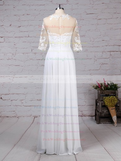Chiffon Tulle Scoop Neck Floor-length A-line Appliques Lace Wedding Dresses #PWD00023279
