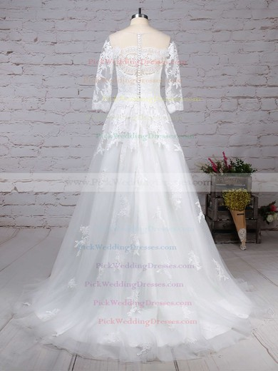 Tulle Scoop Neck Sweep Train Princess Appliques Lace Wedding Dresses #PWD00023162
