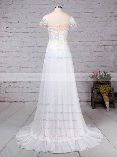 Chiffon Tulle Scoop Neck Sweep Train A-line Beading Wedding Dresses #PWD00023165