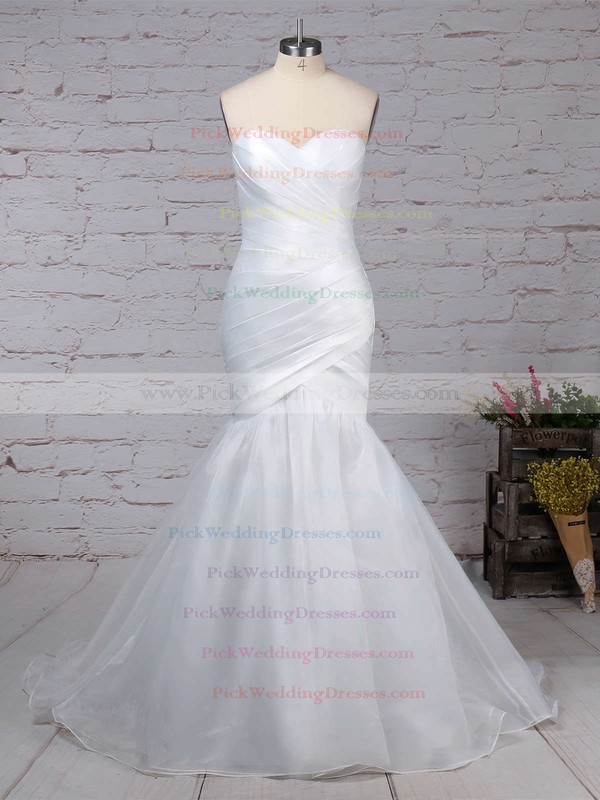 Tulle Sweetheart Sweep Train Trumpet/Mermaid Ruffles Wedding Dresses #PWD00023218