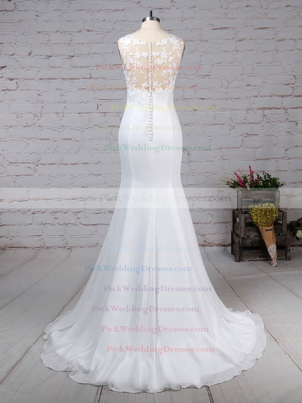 Tulle Chiffon Scoop Neck Sweep Train Trumpet/Mermaid Appliques Lace Wedding Dresses #PWD00023231