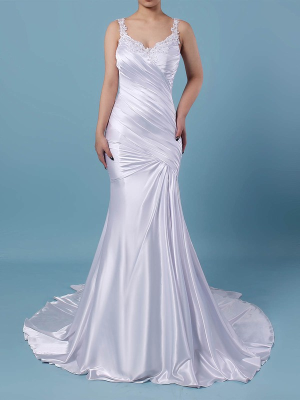 Tulle Silk-like Satin V-neck Sweep Train Trumpet/Mermaid Beading Wedding Dresses #PWD00023242