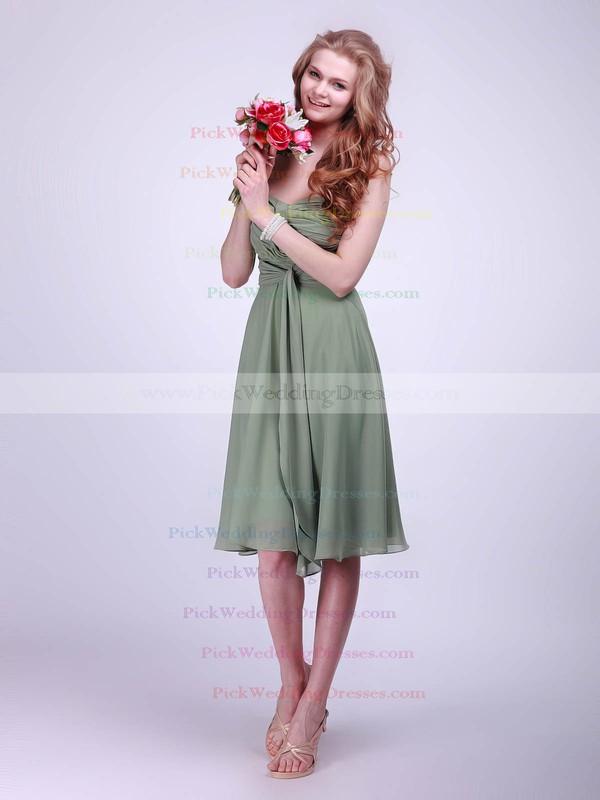 A-line Knee-length Chiffon Pleats Sweetheart Bridesmaid Dresses #PWD02042133
