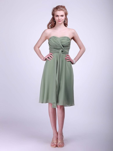 A-line Knee-length Chiffon Pleats Sweetheart Bridesmaid Dresses #PWD02042133