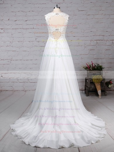 Chiffon Tulle V-neck Court Train Princess Beading Wedding Dresses #PWD00023244