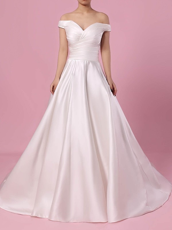 Satin Off-the-shoulder Sweep Train Ball Gown Ruffles Wedding Dresses #PWD00023252