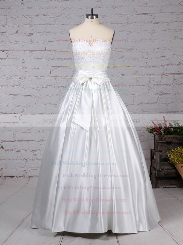 Lace Satin Sweetheart Floor-length Ball Gown Bow Wedding Dresses #PWD00023256