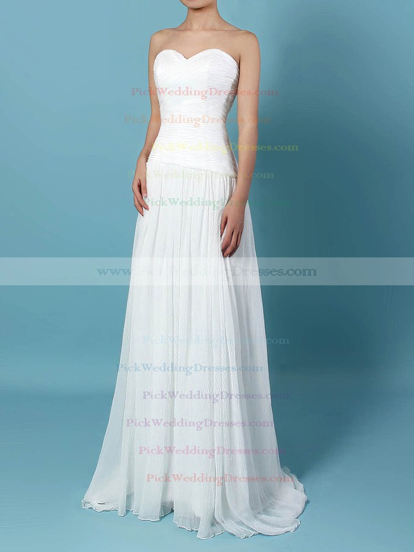 Chiffon Sweetheart Sweep Train A-line Beading Wedding Dresses #PWD00023260