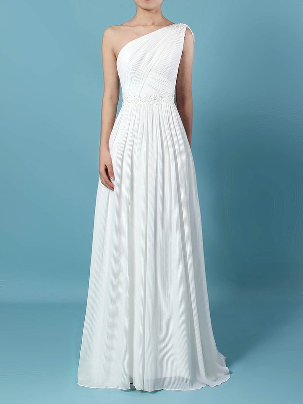 Chiffon One Shoulder Sweep Train Empire Beading Wedding Dresses #PWD00023261