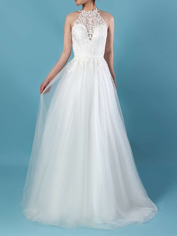 Tulle Scoop Neck Sweep Train A-line Appliques Lace Wedding Dresses #PWD00023266
