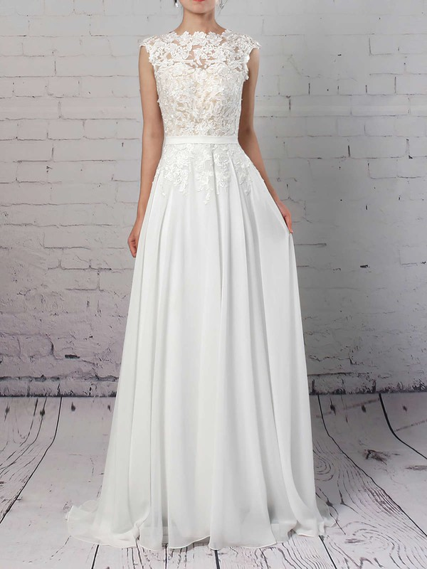 Lace Chiffon Scoop Neck Sweep Train A-line Sashes / Ribbons Wedding Dresses #PWD00023294