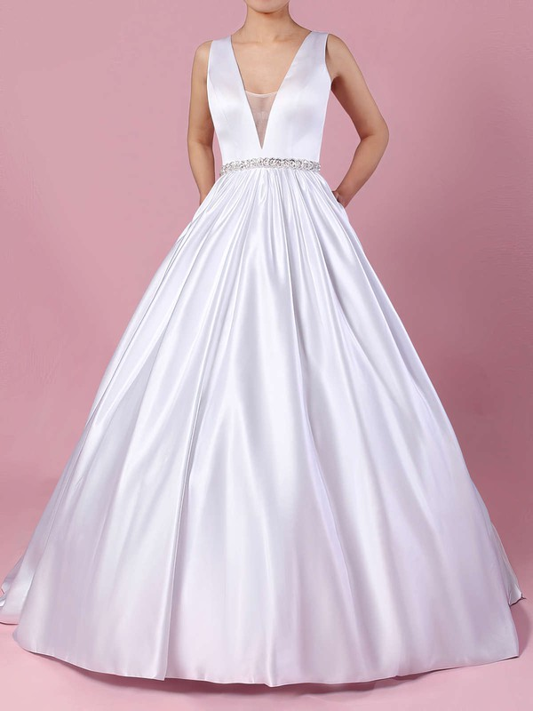 Satin V-neck Court Train Ball Gown Beading Wedding Dresses #PWD00023311