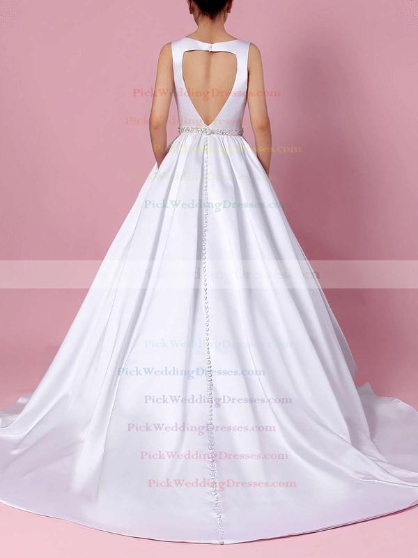 Satin V-neck Court Train Ball Gown Beading Wedding Dresses #PWD00023311