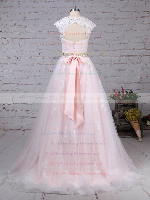Tulle Sweetheart Sweep Train Ball Gown Appliques Lace Wedding Dresses #PWD00023176