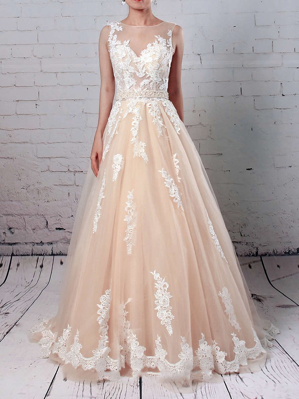 Tulle Scoop Neck Sweep Train Ball Gown Beading Wedding Dresses #PWD00023186