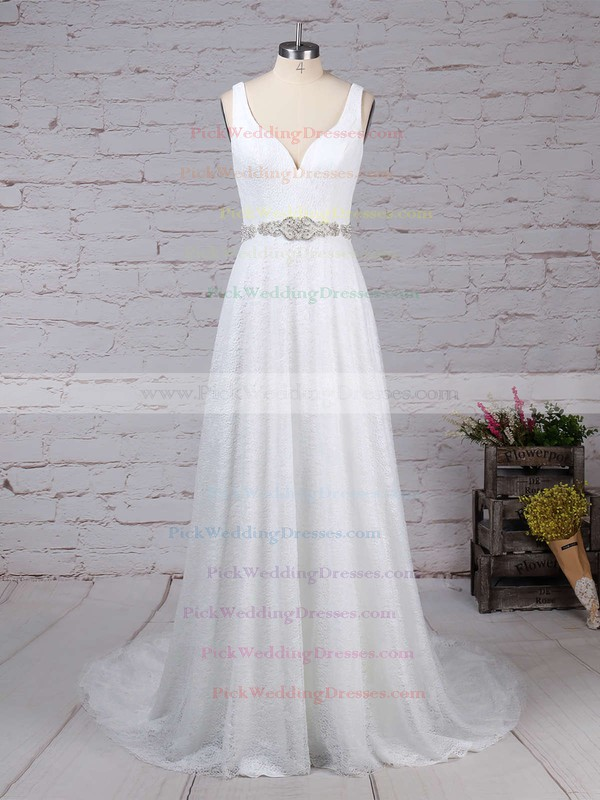Lace Tulle V-neck Sweep Train A-line Sashes / Ribbons Wedding Dresses #PWD00023210