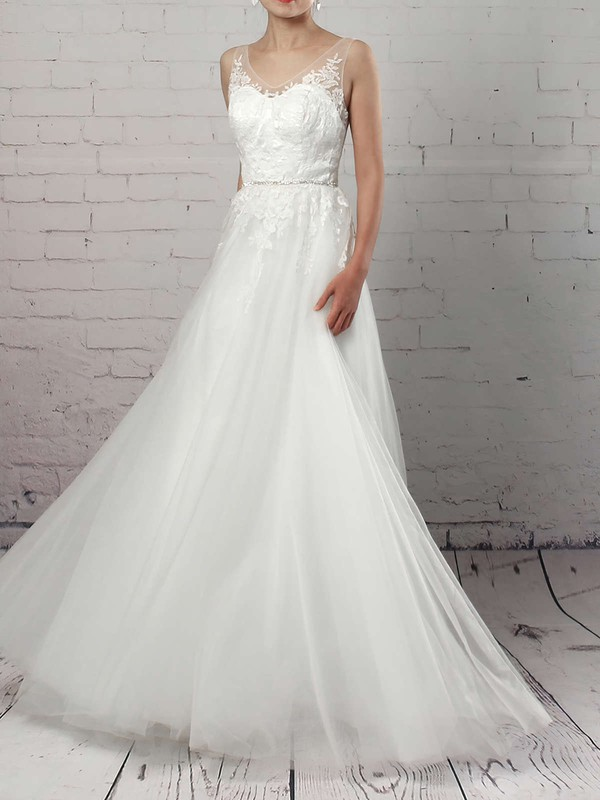 Tulle V-neck Sweep Train A-line Appliques Lace Wedding Dresses #PWD00023215