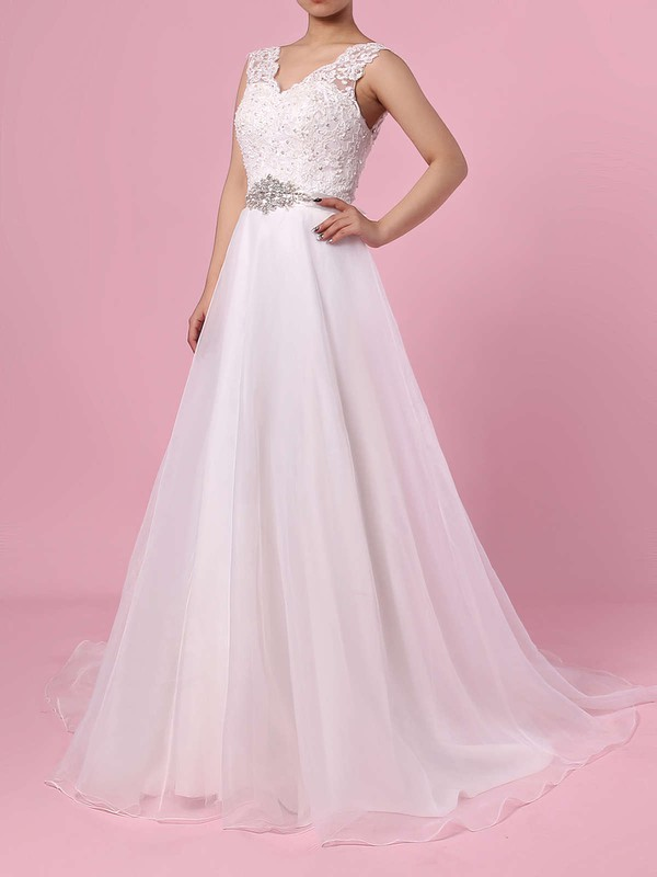 Chiffon V-neck Sweep Train Princess Appliques Lace Wedding Dresses #PWD00023282