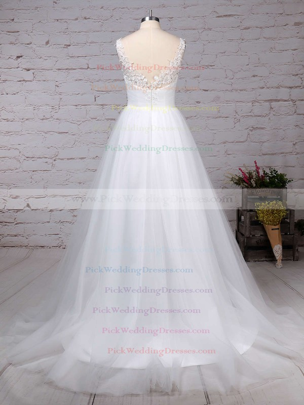 Tulle V-neck Sweep Train Princess Beading Wedding Dresses #PWD00023288