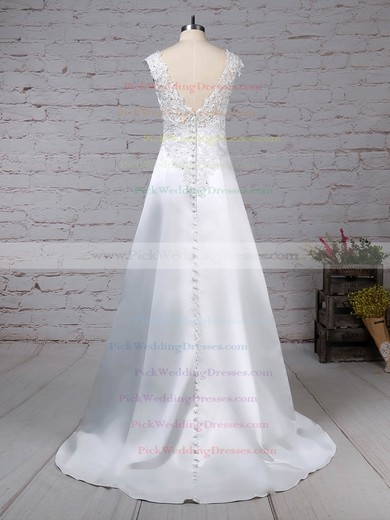 Satin Tulle V-neck Sweep Train Princess Appliques Lace Wedding Dresses #PWD00023301