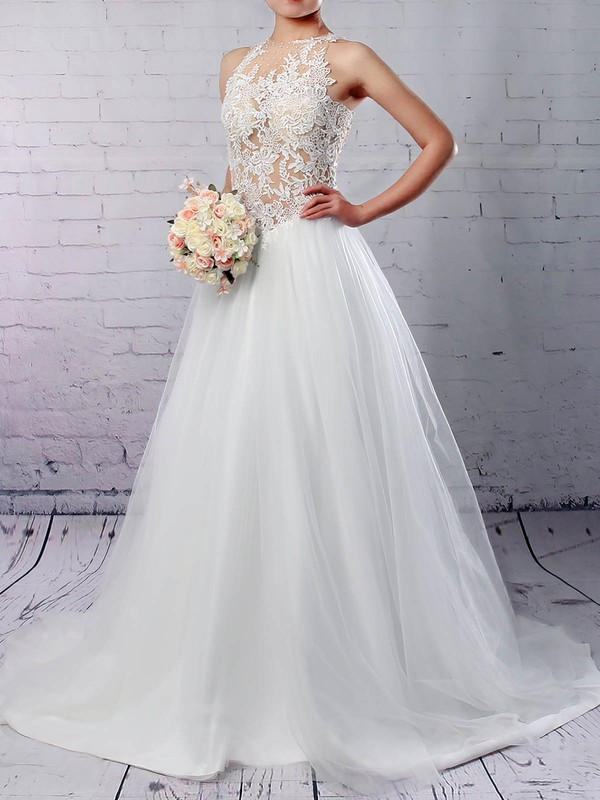 Tulle Scoop Neck Sweep Train Princess Appliques Lace Wedding Dresses #PWD00023309