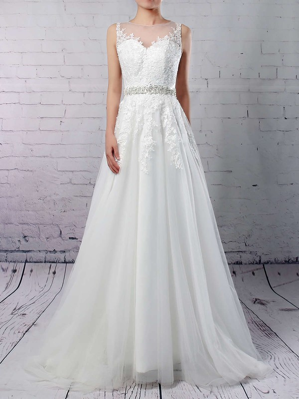 Tulle Scoop Neck Sweep Train A-line Appliques Lace Wedding Dresses #PWD00023318