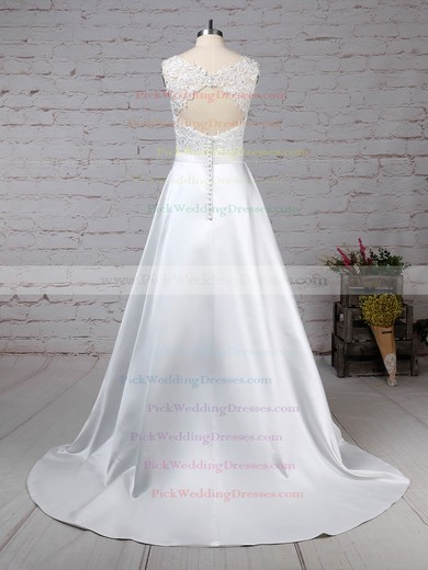 Satin Tulle Scoop Neck Sweep Train Ball Gown Appliques Lace Wedding Dresses #PWD00023319