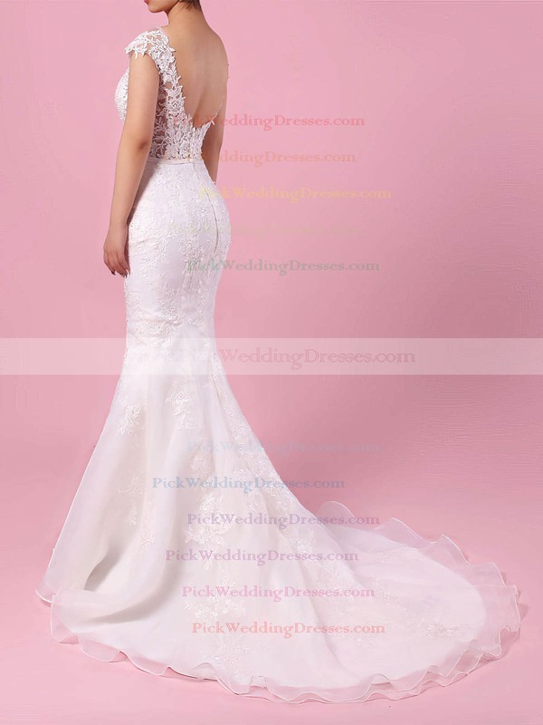 Tulle Scoop Neck Sweep Train Trumpet/Mermaid Appliques Lace Wedding Dresses #PWD00023152