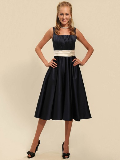 A-line Tea-length Satin Sashes/Ribbons Square Bridesmaid Dresses #PWD02042135