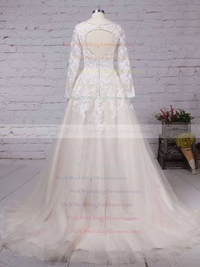 Tulle V-neck Court Train Ball Gown Beading Wedding Dresses #PWD00023154
