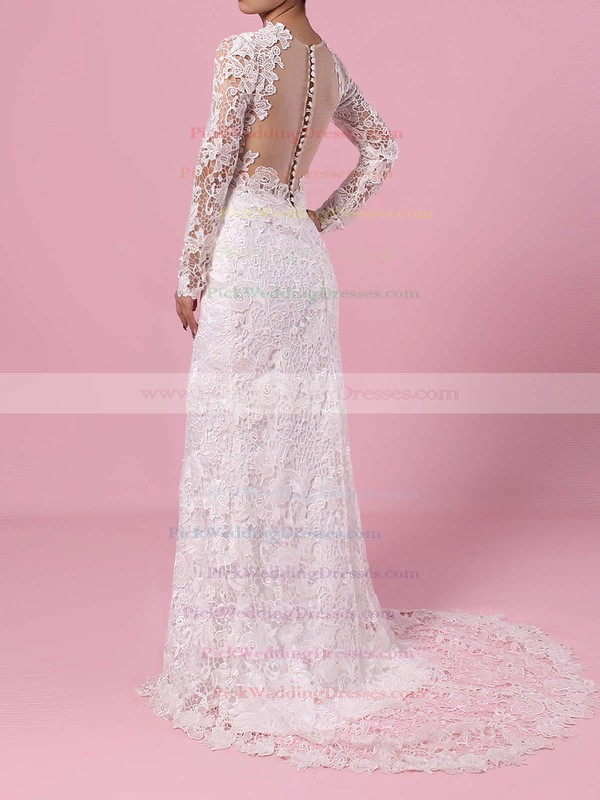 Lace Tulle Scoop Neck Sweep Train Sheath/Column Wedding Dresses #PWD00023193