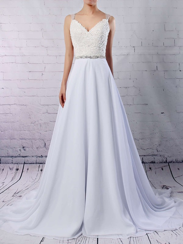Chiffon Tulle V-neck Sweep Train Princess Beading Wedding Dresses #PWD00023181