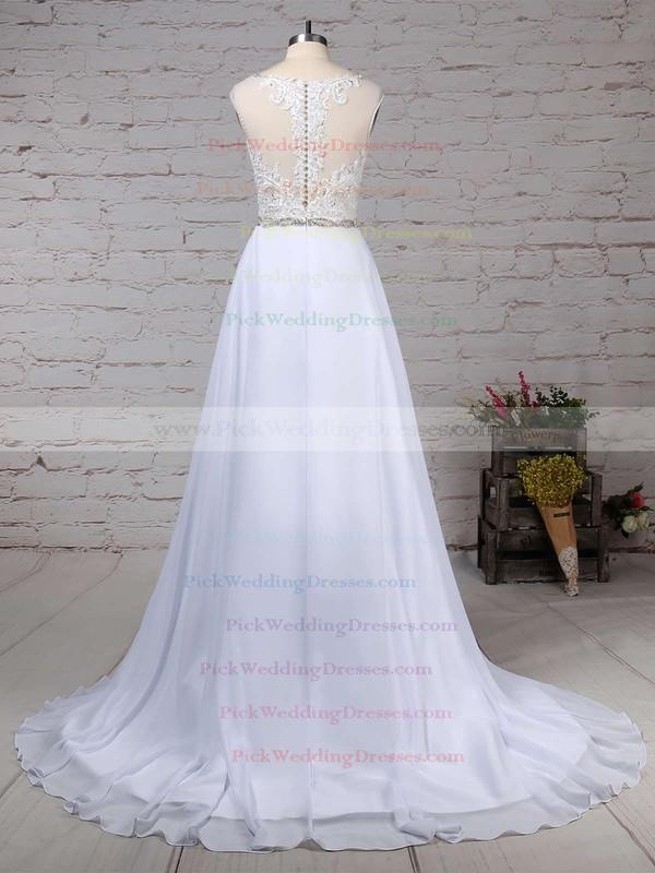 Chiffon Tulle V-neck Sweep Train Princess Beading Wedding Dresses #PWD00023181