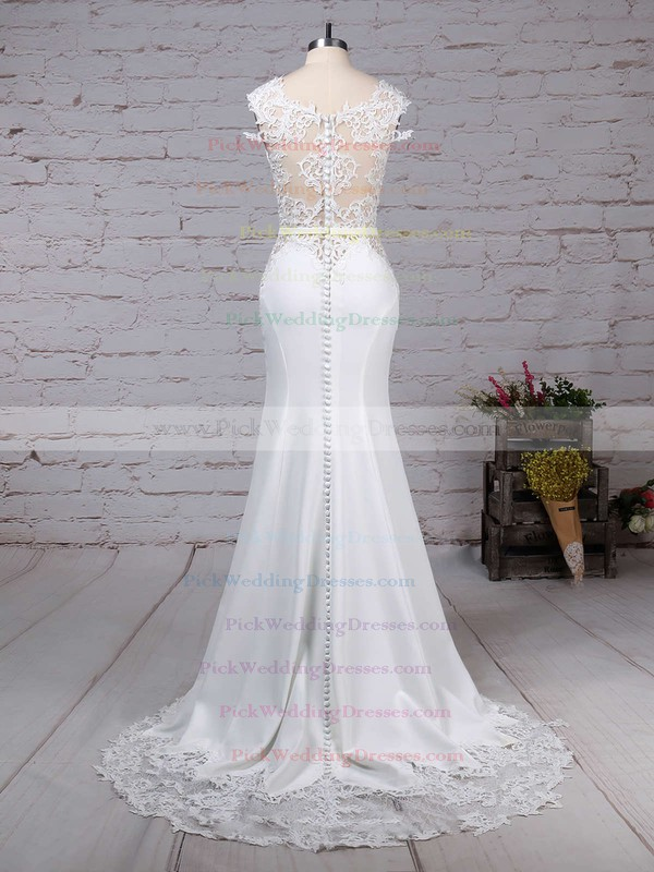 Tulle Satin Chiffon Scoop Neck Sweep Train Trumpet/Mermaid Appliques Lace Wedding Dresses #PWD00023278