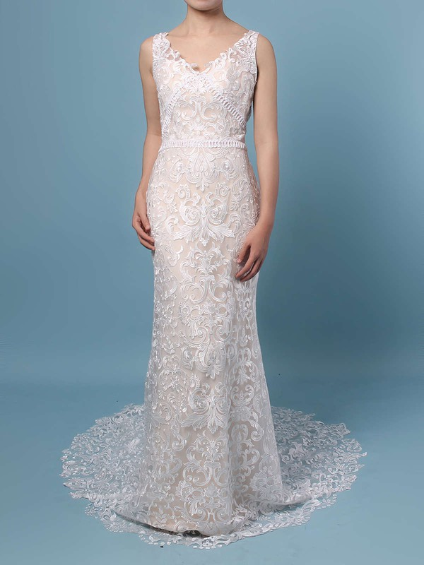 Lace V-neck Sweep Train Trumpet/Mermaid Appliques Lace Wedding Dresses #PWD00023284