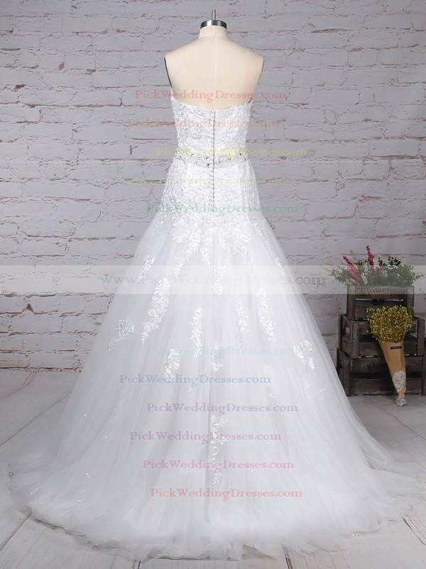 Tulle Sweetheart Court Train Trumpet/Mermaid Appliques Lace Wedding Dresses #PWD00023150