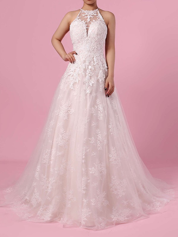Lace Tulle Scoop Neck Sweep Train Princess Appliques Lace Wedding Dresses #PWD00023159