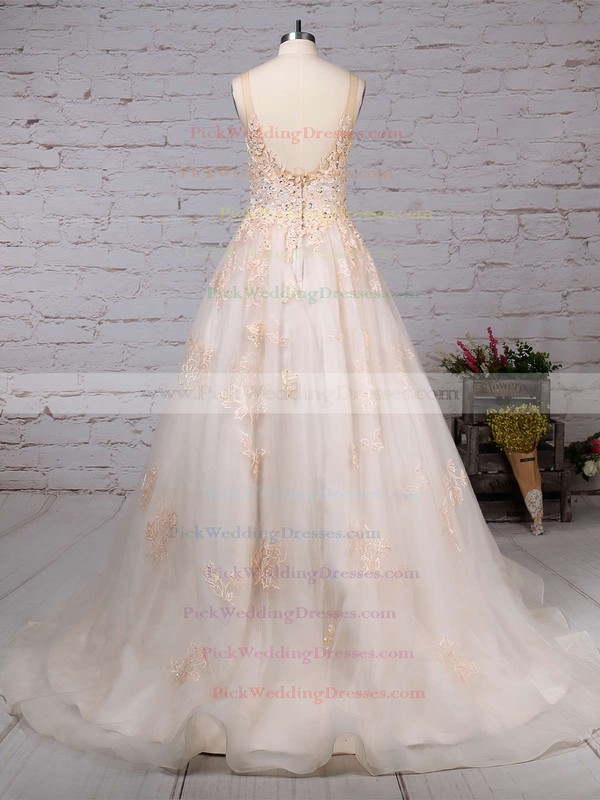 Tulle Scoop Neck Sweep Train Ball Gown Sequins Wedding Dresses #PWD00023173