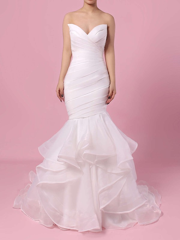 Organza V-neck Sweep Train Trumpet/Mermaid Side-Draped Wedding Dresses #PWD00023190