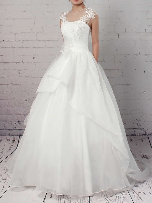 Organza Tulle Scoop Neck Sweep Train Ball Gown Appliques Lace Wedding Dresses #PWD00023192