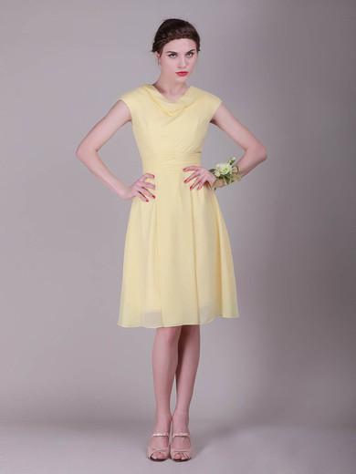 A-line Knee-length Chiffon Pleats Cowl Bridesmaid Dresses #PWD02042136