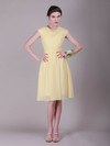 A-line Knee-length Chiffon Pleats Cowl Bridesmaid Dresses #PWD02042136