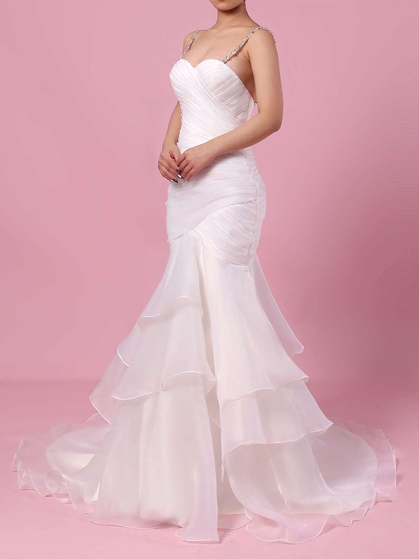 Organza Tulle Sweetheart Sweep Train Trumpet/Mermaid Beading Wedding Dresses #PWD00023217