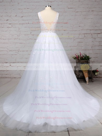 Tulle V-neck Sweep Train Ball Gown Beading Wedding Dresses #PWD00023221