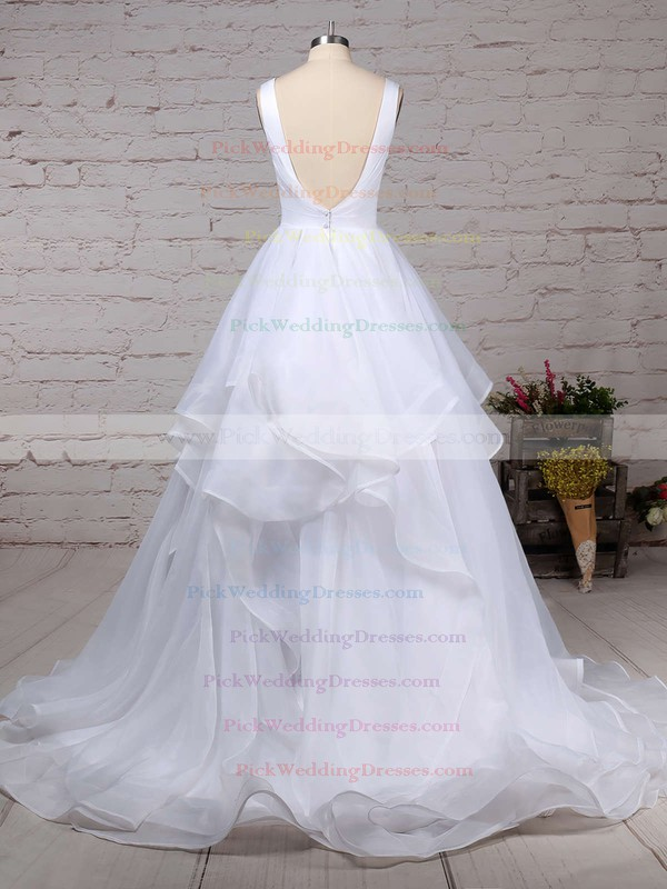 Organza V-neck Sweep Train Ball Gown Ruffles Wedding Dresses #PWD00023222