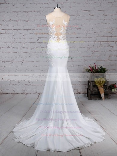 Chiffon Tulle V-neck Sweep Train Trumpet/Mermaid Beading Wedding Dresses #PWD00023232