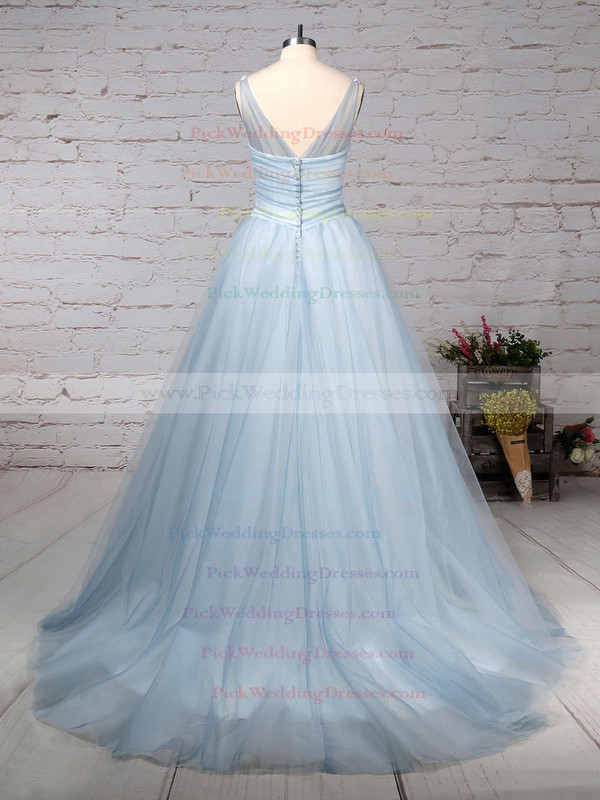 Tulle V-neck Court Train Ball Gown Beading Wedding Dresses #PWD00023241
