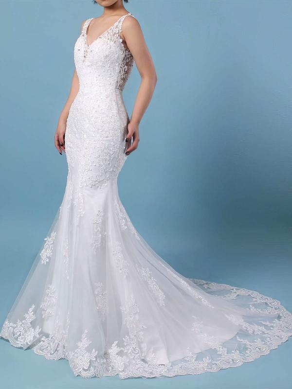 Tulle V-neck Detachable Trumpet/Mermaid Beading Wedding Dresses #PWD00023148
